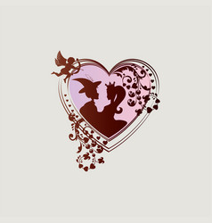 silhouette of the heart with decoration and two vector image