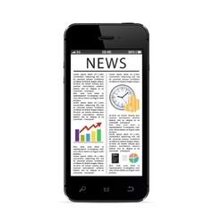 Smart phone with a news page on the screen vector image