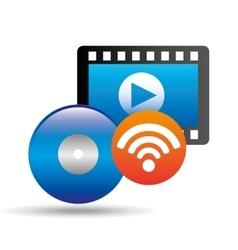 Strip film video player online vector