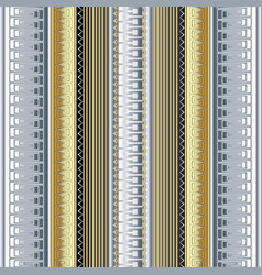Striped 3d greek borders seamless pattern vector