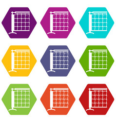 tennis net icons set 9 vector image