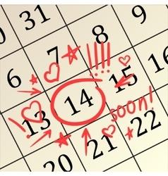 valentine day in calendar vector image