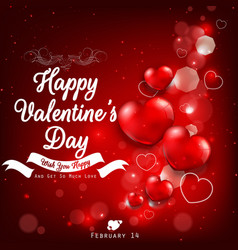 valentines day greeting with red heart balloons vector image