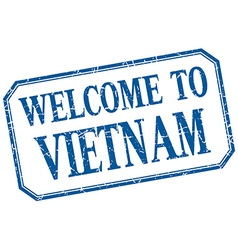 Vietnam - welcome blue vintage isolated label vector