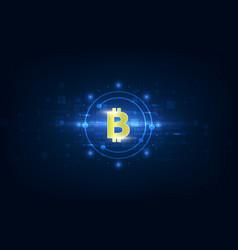 virtual symbol of the coin bitcoin on binary code vector image