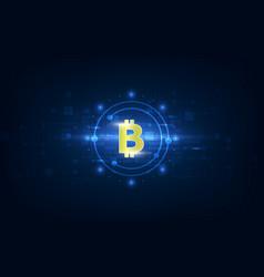 virtual symbol of the coin bitcoin on binary code vector image