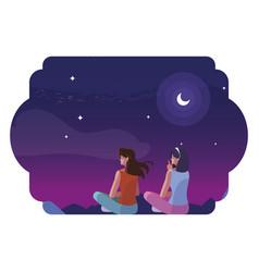 Women couple contemplating horizon sky sunset vector