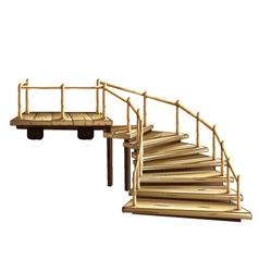 Wooden spiral staircase vector