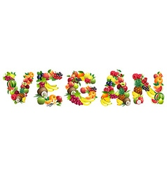 Word vegan composed different fruits vector