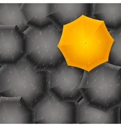 Yellow Umbrella on Black Background vector image