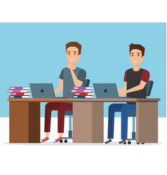 young boys in the workplace avatars characters vector image