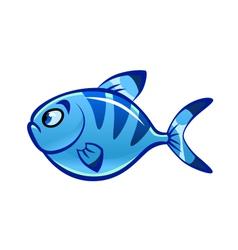 cartoon blue fish vector image vector image