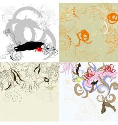 set 10 floral background vector image vector image