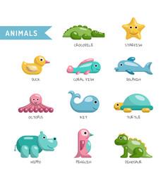 set cute animals vector image vector image