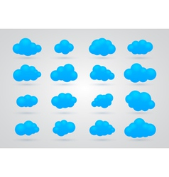 set of Blue clouds vector image