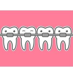 Cartoon tooth braces vector image
