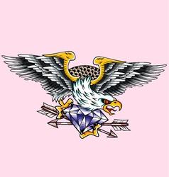 eagle diamond tattoo vector image vector image