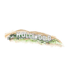 hollywood sign watercolor hollywood hill vector image