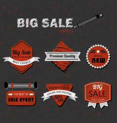 modern retro red and white sale labels on gray vector image