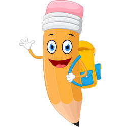 pencils cartoon with school bag vector image