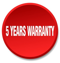 5 years warranty red round flat isolated push vector image