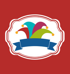 colored hat joker banner vector image vector image