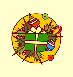 gif box decoration icon merry christmas and happy vector image vector image
