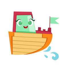 Green red and orange boat cute girly toy wooden vector