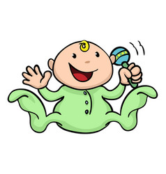 happy cute baby playing with rattle vector image