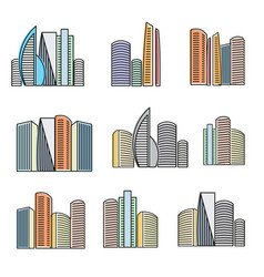 isolated colorful high buildings icons collection vector image vector image