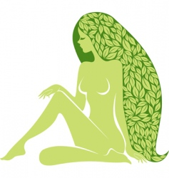 woman with long healty hair vector image vector image