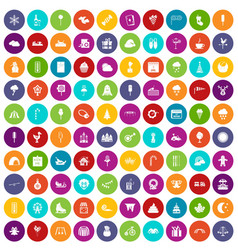 100 childrens parties icons set color vector image vector image