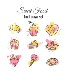 cake Set of hand drawn sweets vector image