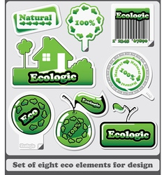 eight eco design elements and icons vector image