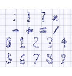 Hand drawn child English alphabet Filled Bold Blue vector image
