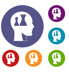 head with queen and pawn chess icons set vector image