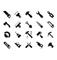 Set of black hand and power tools icons vector image vector image