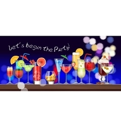 Set of stemware and glasses with cocktail vector image vector image