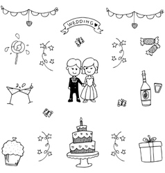 Set of wedding party doodle vector