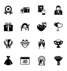 16 celebration filled icons set isolated on white vector image