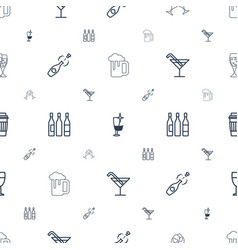 alcohol icons pattern seamless white background vector image