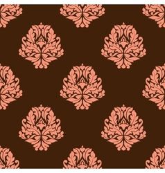 Baroque styled pink flowers in seamless pattern vector image