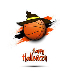 basketball ball with witch hat and happy hallowen vector image