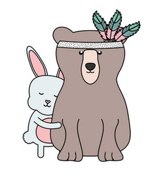 Bear grizzly and rabbit with feathers hat boho vector