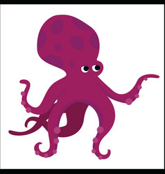 big red octopus cartoon character vector image