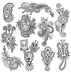 Black line art ornate flower design collection vector