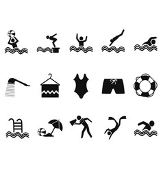 Black water pool icons set vector