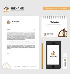 boat business letterhead calendar 2019 and mobile vector image