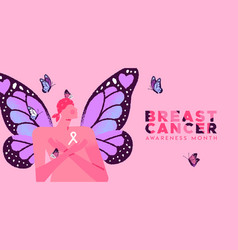 breast cancer banner butterfly wing woman vector image