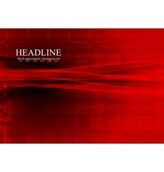 Bright red tech abstract background vector